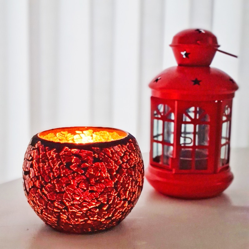 Red Candle Holder Glass Hand Blown Decorative Golden Candles Container Made in Palestine Holy Land Home Decor