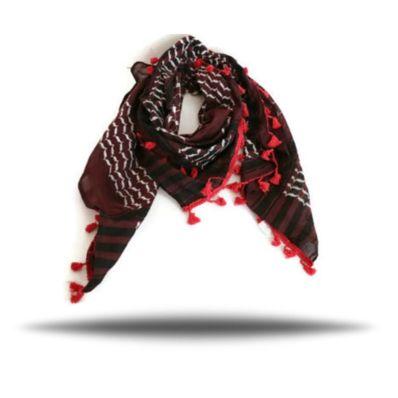 24a92d1dc6b Hirbawi Scarf Shemagh Red Black White Keffiyeh 47