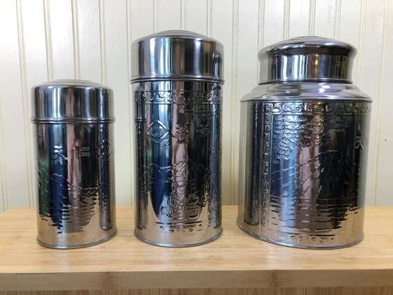 Stainless Steel Kitchen Canister with Asian Embossed Design, Tea Canister,  Tea Caddy with lid, Kitchen Canister with lid, Kitchen Storage