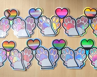 Holographic Pride Paw Heart Stickers - LGBTQIA+ Progress