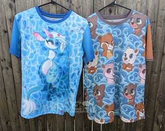 Pre-Order: Summer Shirts Kobold & Otters - All over print T-shirts - Swimming Kobold Dragon and Furry Cute Otter Designs