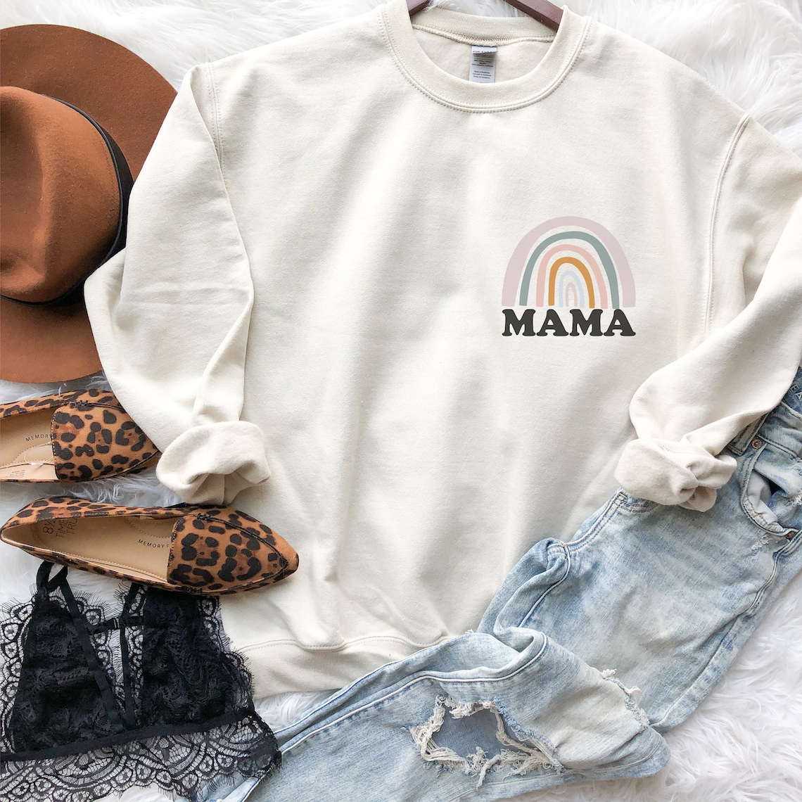 Rainbow Mama Sweatshirt Rainbow Mama Hoodie Mama Sweatshirt image 0; holiday gift guide for her