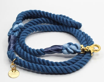 Navy Blue and Aqua Blue Tie Dye Swirls Hippy Handmade 1 Wide 3,4,5,6,7,8 Foot Dog or Pet Leash