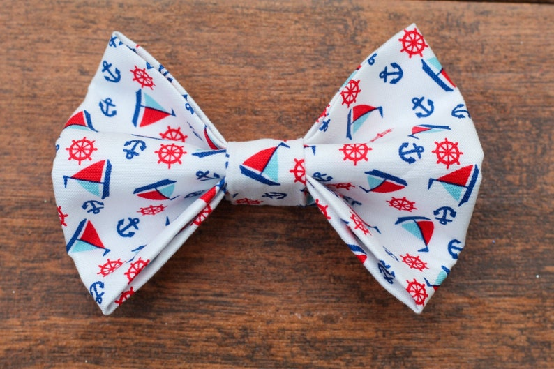 Beach Dog Bow Tie Sailboat and Anchor Dog Bow Tie Summer Dog Bow Tie Nautical Dog Bow Tie Collar Bow Coastal Dog Bow Tie