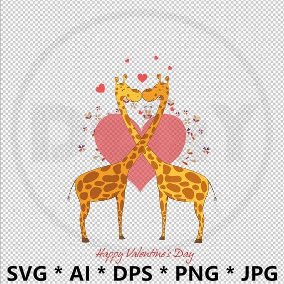 Couple Giraffe Fonts Svg Eps Ai Printable Cut Files Heart Etsy