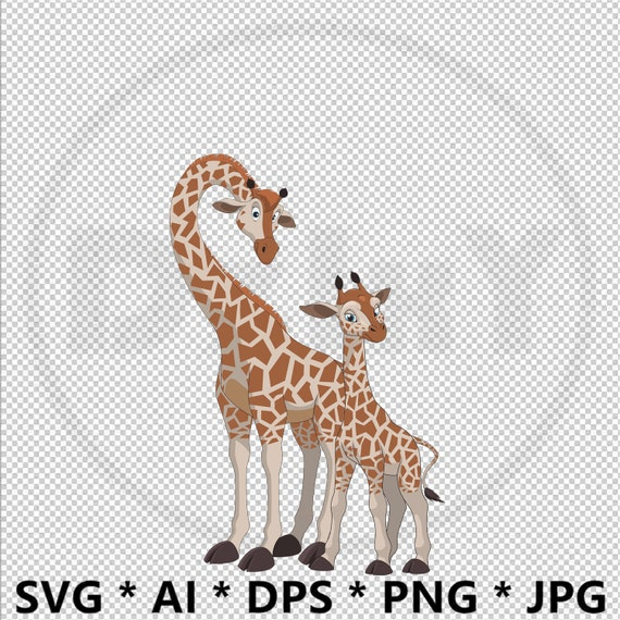 Lovely Giraffe Mother And Child Svg Eps Ai Printable Cut Etsy