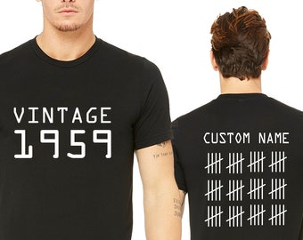 Vintage 60th Birthday Any Year 1956 1957 1958 T-shirt Present Gift S-5XL Dad Mum