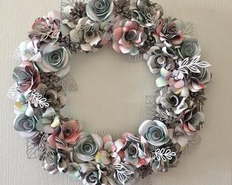Paper flower wreath etsy pastel colored paper flower wreath mightylinksfo