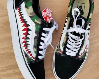 5c6755cd06 Camo Bape Shark Vans