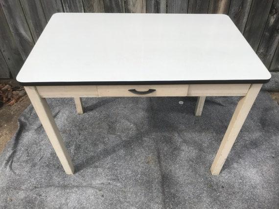 Antique white Enamel top kitchen table