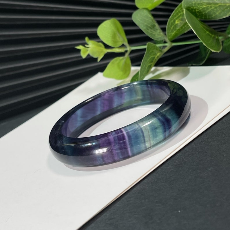 Rare High Grade Translucent Fluorite Bangle Bracelet 61+MM Solid Carved Multicolor Crystal Blue Purple Gradient Special Chakra Gift for Her