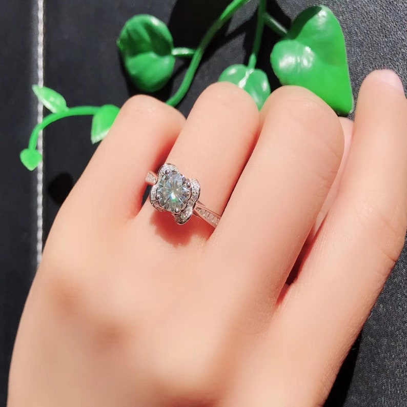 65c40f5a4e9b4 Engagement Rings Moissanite Pave, Round Shape 1.0 CT, 18K White Gold Ring,  Unique Wedding Ring and Promise Ring