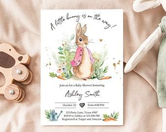 Editable Flopsy Bunny Baby Shower Invitation Girl Pink Rustic Peter Rabbit Invitation Spring Sprinkle Digital Corjl Template Printable 0351