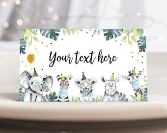 Corjl #002 Table Tent Cards Safari Buffet Cards Editable Jungle Food Labels Animals