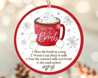 Happy Holidays Cookie Tag Holiday Chocolate Bomb Label Holiday Hot Cocoa Bomb Tag You/'re the BOMB Happy Holidays 2 Hot Chocolate Bomb Tag