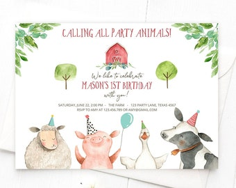 Editable Farm Birthday Invitation Boy Farm Animals Boy Barnyard Birthday Party Animals Printable Invitation Template Digital Corjl 0155