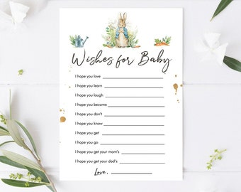 Editable Whishes for the Baby Game Baby Shower Greenery Peter Rabbit Baby Shower Bunny Spring Boy Rustic Corjl Template Printable 0351