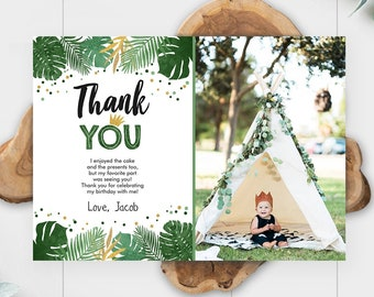 Editable Thank You Card Safari Wild One Two Wild and Three Wild Things Thank You Note Black Gold Photo Boy Jungle Corjl Template 0332