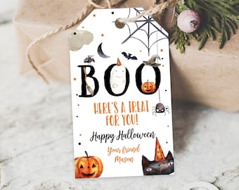 Editable Halloween Favor Tags Boo Gift Tags Costume Party Trick Or Treat Favor Tags Birthday Party Download Printable Template Corjl 0261
