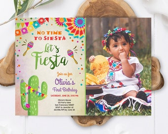 Editable Let's Fiesta Birthday Invitation No Time To Siesta Girl Cactus Samba Confetti First Birthday Photo Corjl Template Printable 0045