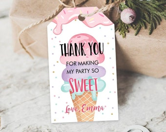 Editable Ice Cream Favor Thank You Tags Ice Cream Birthday Party Girl Pink Purple Gift Goodie Bag Labels Corjl Template PRINTABLE 0243