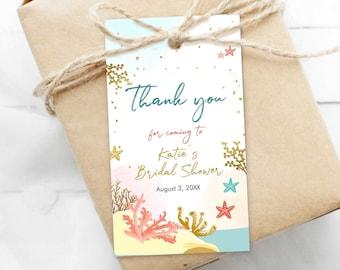 Instant Download  Shower Engagement Birthday  Shells  Pink Coral Aqua Seahorse Favor Tags  Beach Wedding  Digital YOU PRINT