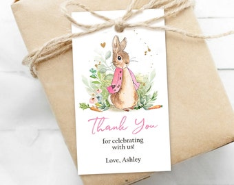 Editable Flopsy Bunny Baby Shower Favor Tags Bunny Thank you Tags Pink Girl Shower Labels Watercolor Printable Download Corjl Template 0351