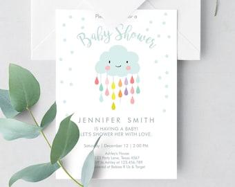 Editable Cloud Baby Shower Invitation Raindrop Shower with Love Rain drops Neutral Instant Download Printable Template Corjl Digital 0036