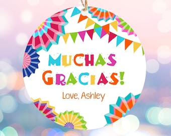Editable Muchas Gracias Fiesta Favor Tag Thank You Tags Cactus Succulent Mexican Birthday Baby Bridal Shower Taco Bout  Corjl Template 0045