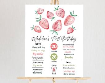 Editable Strawberry Birthday Milestones Sign Strawberry First Birthday Girl Strawberries Watercolor Download Template Printable Corjl 0399
