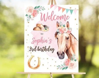 Editable Horse Birthday Welcome Sign Pony Birthday Welcome Sign Cowgirl Party Floral Girl Horse Party Download Template Corjl PRINTABLE 0398