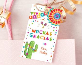 Editable Cactus Fiesta Favor Tags Fiesta Thank You Tags Mexican Muchas Gracias Bridal Shower Succulent Birthday Corjl Template 0045