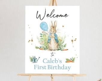 Editable Peter Rabbit Welcome Sign Boy Birthday Baby Shower Welcome 1st Birthday Rabbit Watercolor Bunny Template Corjl PRINTABLE 0351