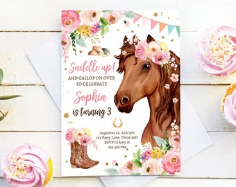 Editable Horse Birthday Invitation Girl Saddle Up Watercolor Cowgirl Party Horse Invite Pink Floral Download Printable Template Corjl 0408