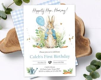 Editable Peter Rabbit Birthday Invitation Boy Blue Rustic Peter Rabbit 1st Birthday Invite Watercolor Digital Corjl Template Printable 0351