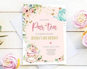 Girls Tea Party Invitation Let/'s Celebrate Together Birthday Par-tea Invitations