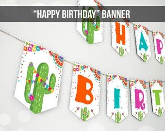 Happy Birthday Banner Fiesta Birthday Banner Girl Boy Taco Twosday First Fiesta Party Decor Instant download PRINTABLE DIGITAL DIY 0045