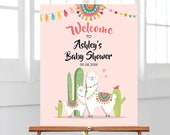 Editable Llama Welcome Sign Llama Baby Shower Welcome Baby Sprinkle Cactus Theme Fiesta Mexican Succulent Pink Girl Corjl Template 0079