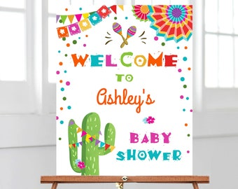 Editable Fiesta Welcome Sign Baby Shower Birthday Bridal Shower Cactus Mexican Fiesta Sign Boy Girl Pink Corjl Template Printable 0045