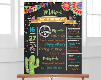 Editable First Fiesta Birthday Milestones Sign First Birthday Poster 1st Birthday Mexican Cactus Samba Chalk Corjl Template Printable 0045