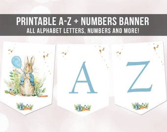 Peter Rabbit Birthday Banner A-Z Alphabet Numbers Banner First Happy Birthday Banner Boy Blue Bunny Gold Party Animals Decor Printable 0351