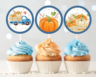 Pumpkin Birthday Cupcake Toppers Favor Tags Blue Pumpkin Truck Birthday Party Decor Stickers Fall Boy Download Digital PRINTABLE 0153