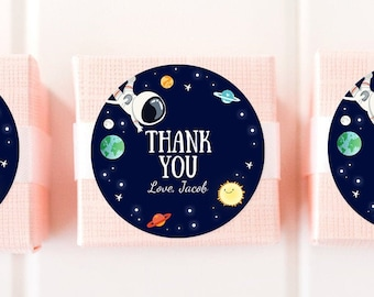 Editable Boy Space Astronaut Favor Tag Thank You Tag Birthday Party Outer Space Galaxy Planets and Stars Round Square Corjl Template 0259