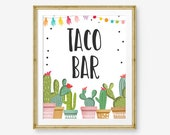Fiesta Taco Bar Sign Fiesta Theme Bridal Shower Baby Shower Decor Cactus Succulent Table Taco Sign 8x10 Instant Download PRINTABLE 0254