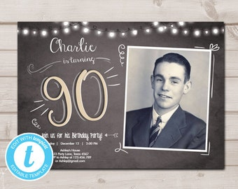 90th Birthday Invitation Chalkboard Rustic Adult Ninety Download Printable Template Editable Templett 0230