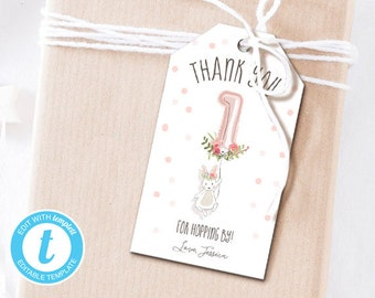 Bunny Favor Tags Birthday Thank You Tag Hopping By Labels Gift Girl Pink Editable Templett Template PRINTABLE 0117