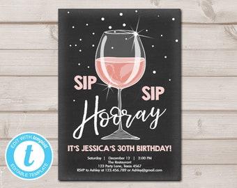 Sip Hooray Birthday Invitation Chalkboard Rustic Adult Surprise Download Printable Template Editable 0252