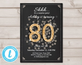 Surprise 80th Birthday Invitation Black And Gold Rustic Adult Invite 80 Download Printable Template Editable 0103