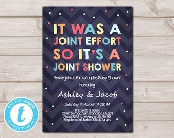 Coed baby shower etsy couples baby shower invitation coed baby shower joint funny navy confetti neutral instant download printable template editable templett filmwisefo