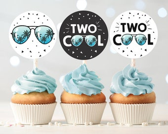Two Cool Cupcake Toppers Favor Tags Boy 2nd Birthday Party Decoration Im This Many Blue Download Digital PRINTABLE 0136